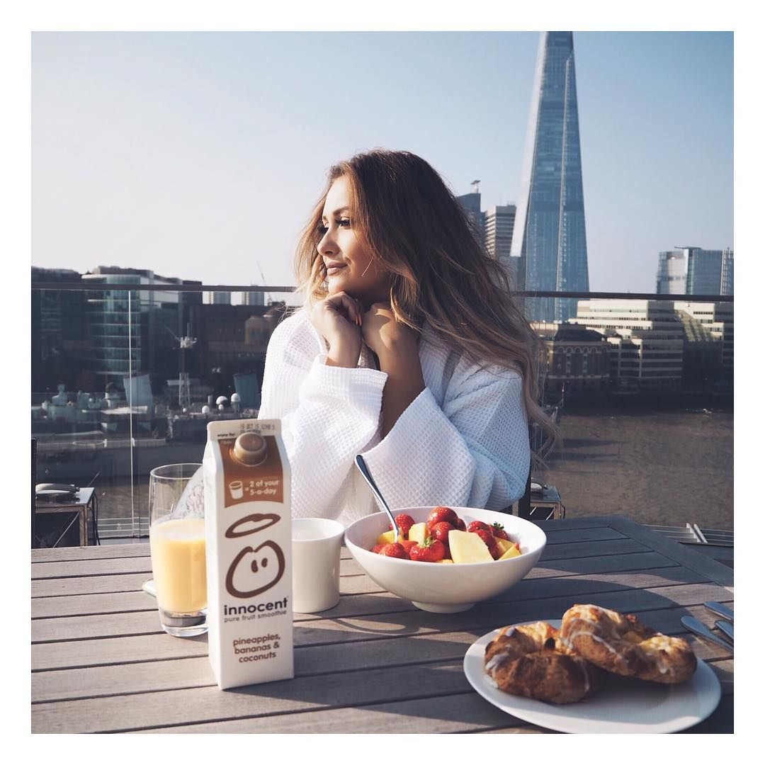 """Waking up to breakfast with a view after an amazing stay at @chevalresidences Three Quays ☀️ head to my snapchat for a tour of the most amazing…"""