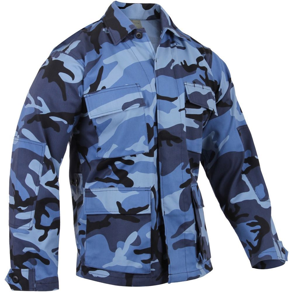 5547f63db1f47 Sky Blue Camo BDU SHIRT Military US Navy USAF Paintball Airsoft USCG SWAT  Police #R #ButtonFrontBDUStyle