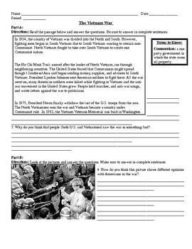 Vietnam War Worksheet- 6 parts | Classroom: US History | Vietnam war ...