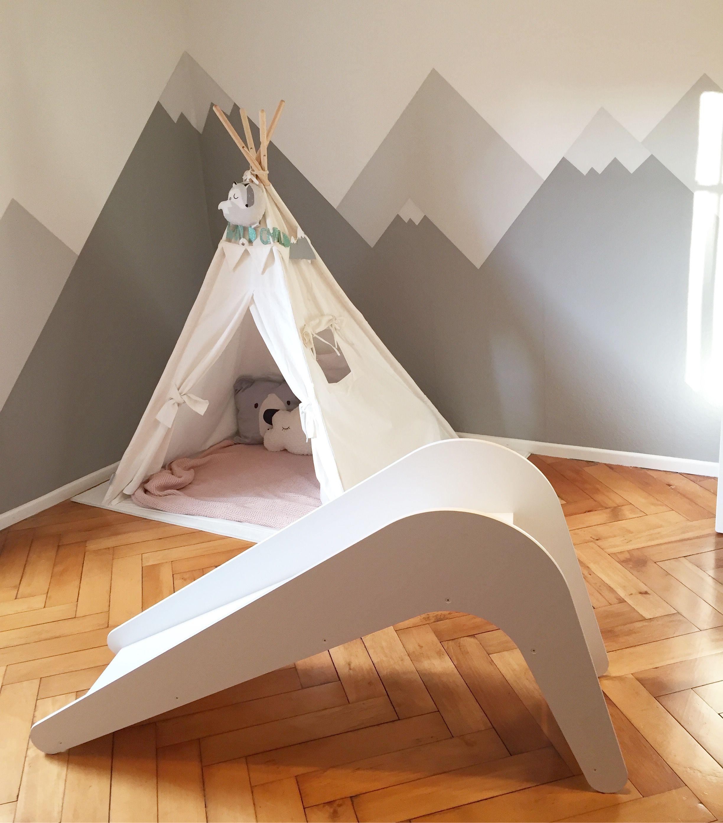 Indoor Holzrutsche, Tipi, Berge Kinder zimmer