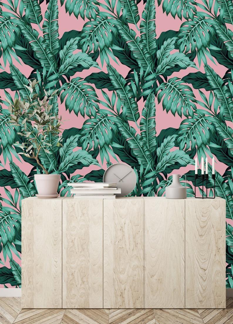Removable Wallpaper Mural Peel Stick Tropical Leaves On Pink Etsy Mural Wallpaper Wallpaper Roll Wallpaper