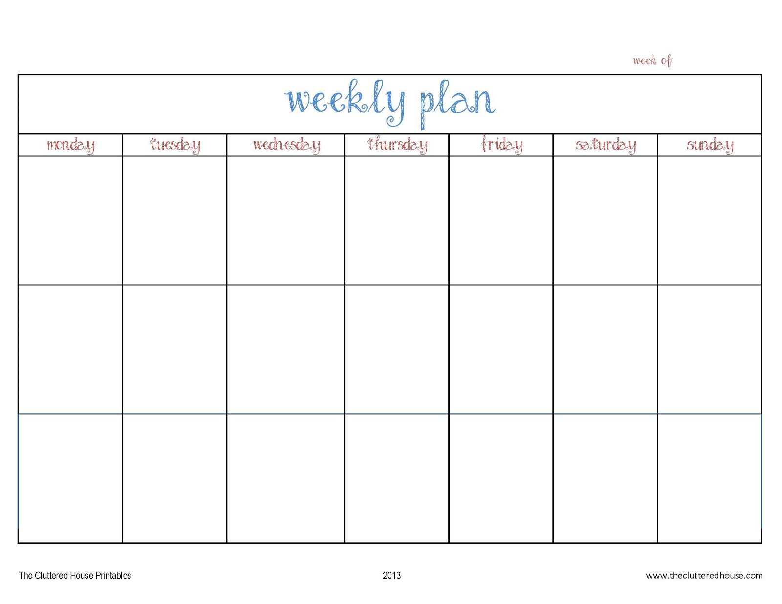 The Cluttered House Weekly Planner Printable  Weekly Plan