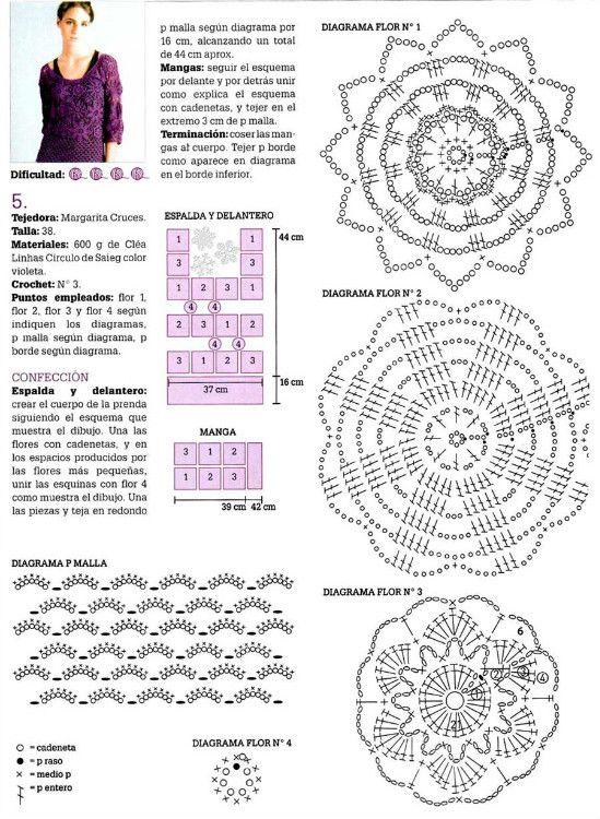 Patron Crochet y Explicacion Jersey Flores - Patrones Crochet | Ropa ...