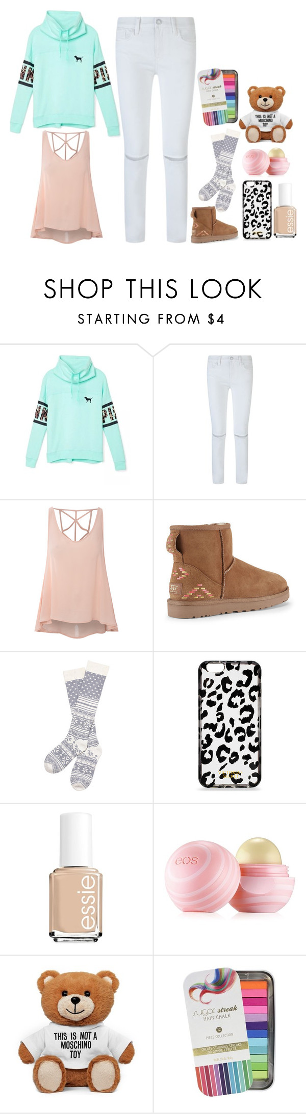 """Untitled #72"" by emilychen-778 on Polyvore featuring Victoria's Secret, Rebecca Minkoff, Glamorous, UGG Australia, Essie, Eos, Moschino, Sugar, women's clothing and women"