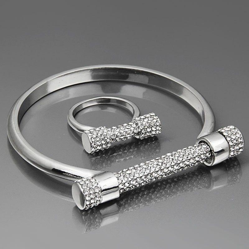 Modeschmuck armband silber  Armreifen + Ringe) Schmuck Set Hufeisen Schraube Liebe Armband ...