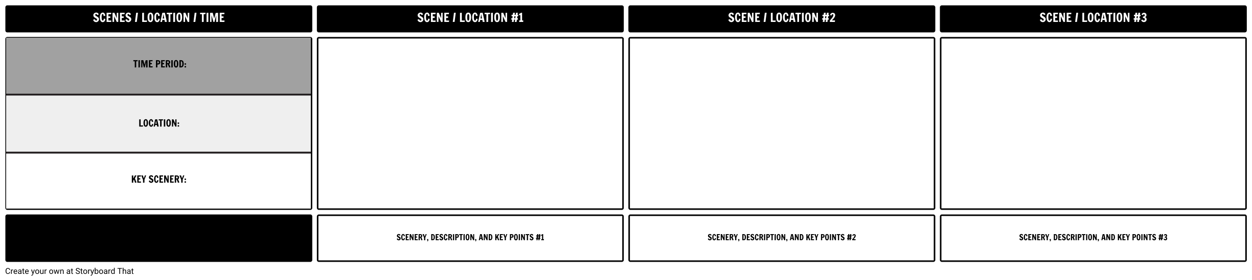 Movie or Film Scene Planner Example - Storyboard template