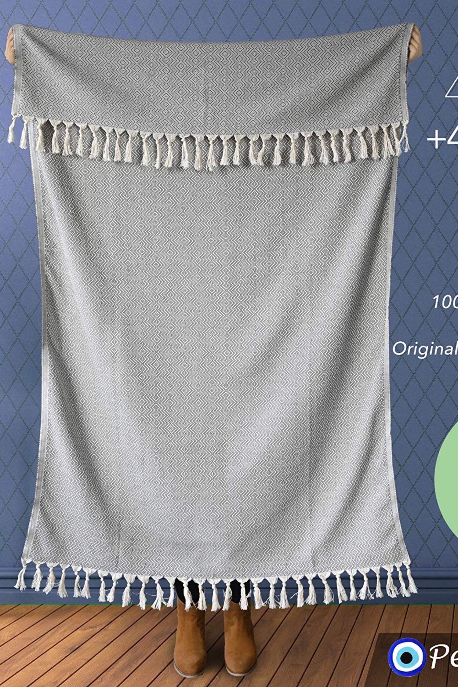 "Blanket with Fringe 100 Cotton 20 40"" x 71"" Grey Chevron"
