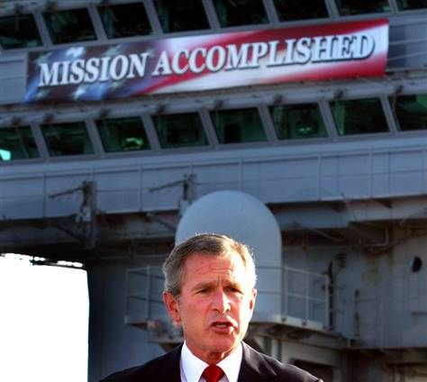 Image result for images of gwb mission accomplished
