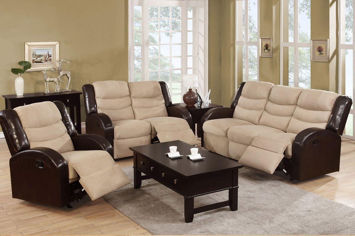 Modern Sectional Sofas Hazelnut Microfiber Reclining Sofa and Loveseat Set