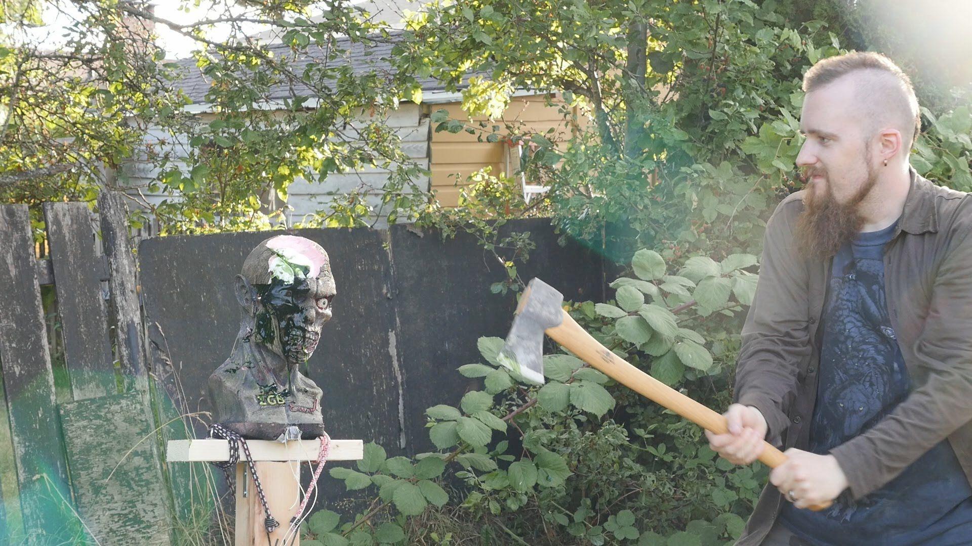 Castlevania whip, swords and axes vs  zombie head (ZGB Ivan