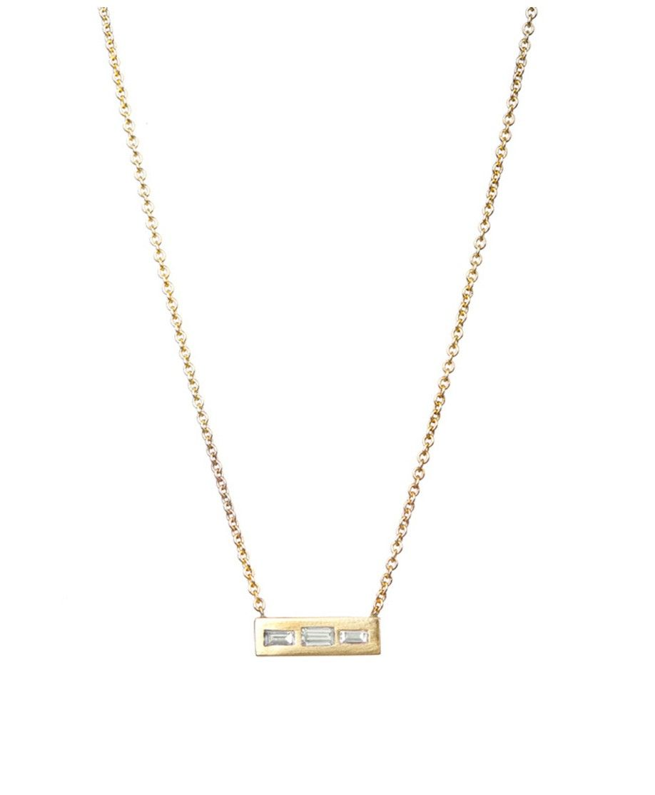 gold pendant white diamond baguette