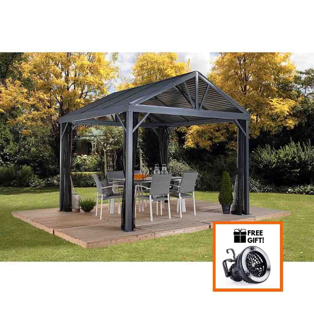 Sojag South Beach I Gazebo Sun Shelter With Galvanized Steel Roof Mosquito Screen Size 12 X 12 Ft