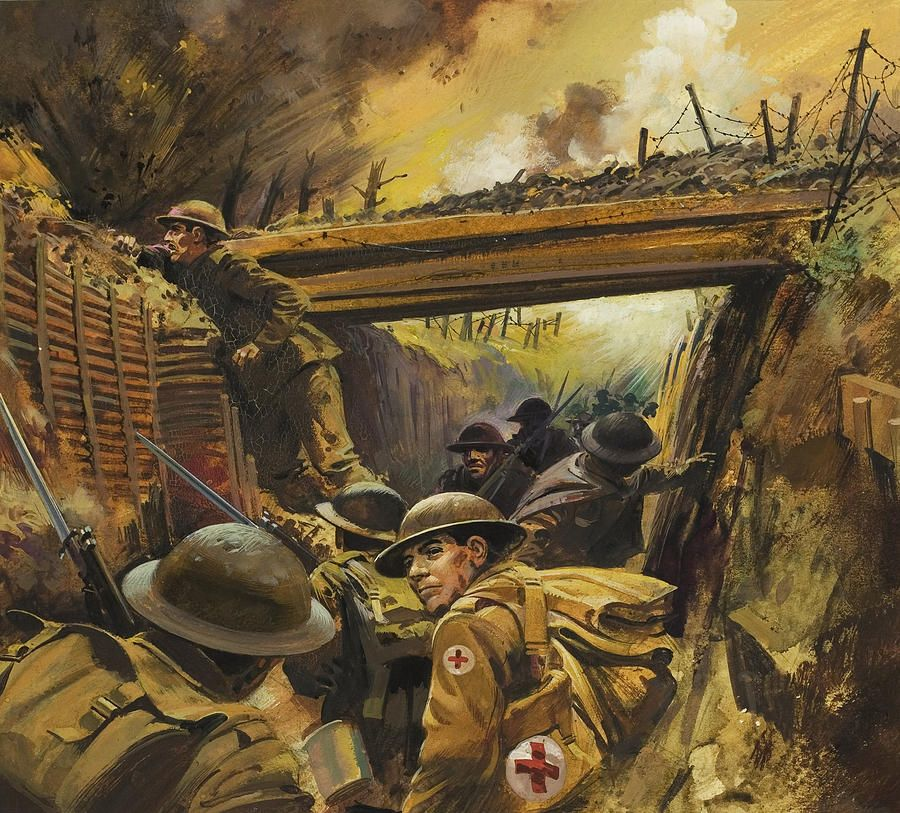 THE FRONT LINE FRANCE WWI WORLD WAR 1 MILITARY ART PAINTING REAL CANVAS PRINT