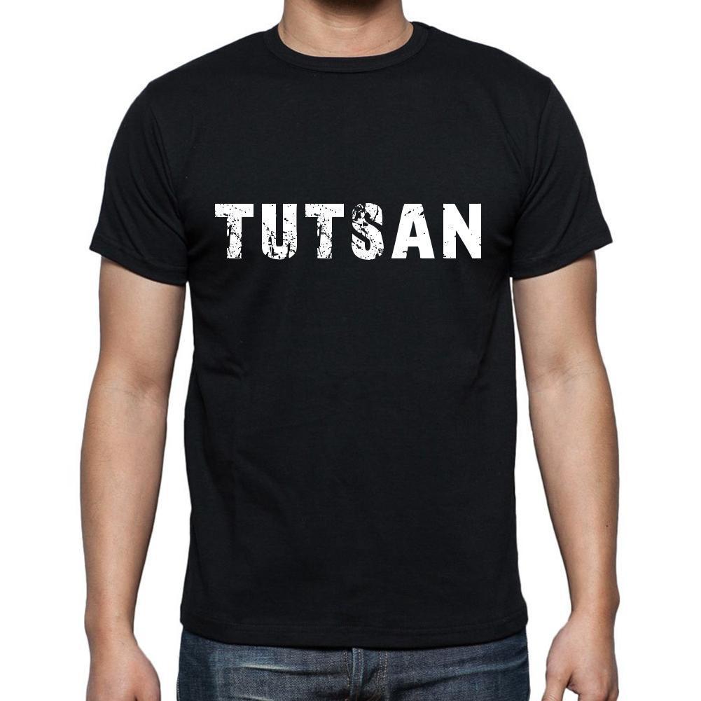 tutsan ,Men's Short Sleeve Rounded Neck T-shirt 6 letters, Black , words