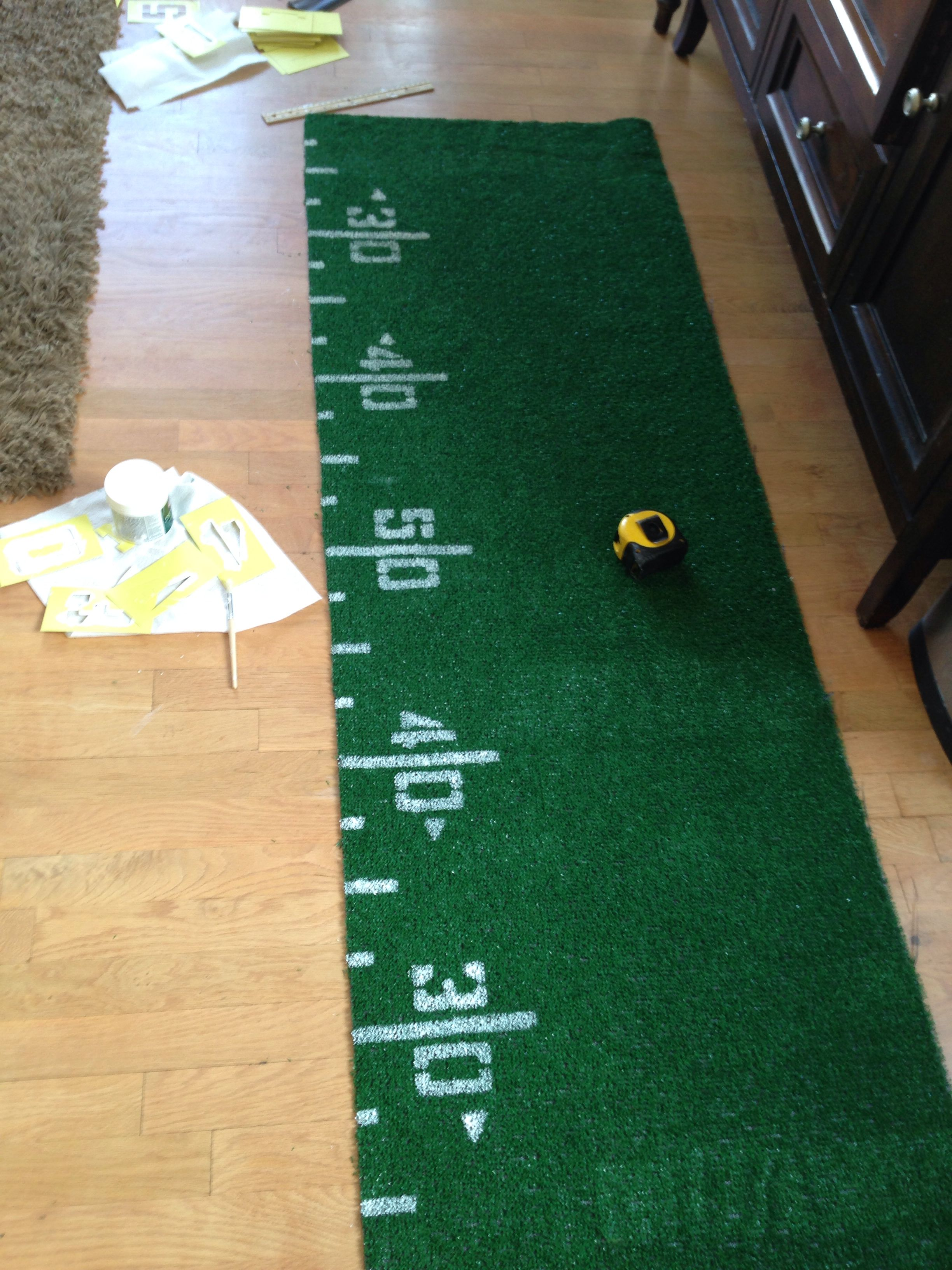 6ft turf table runner for our football theme grad party for 12 ft table runner