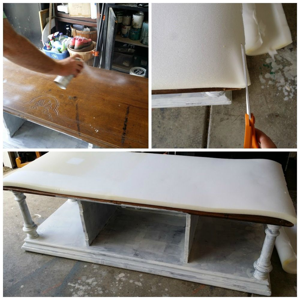 Dated Coffee Table Becomes A Cozy Upholstered Bench