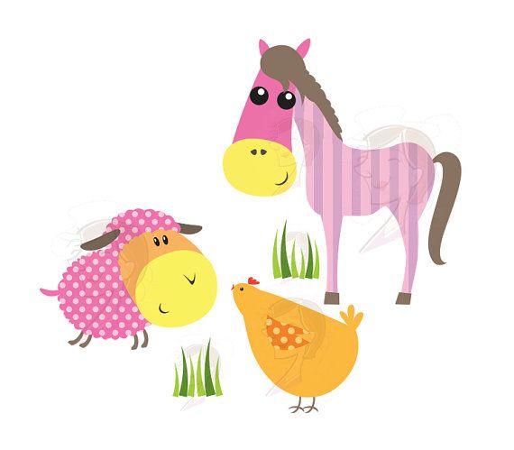 Baby Farm Animals Clip Art 22 cute baby farm animals clip art design pieces! bright colors