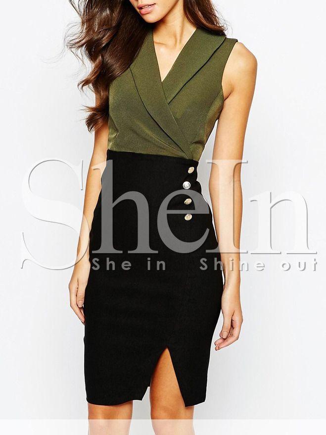 Vestido sin manga color combinado -verde negro 12.87  77f2da7c80a5
