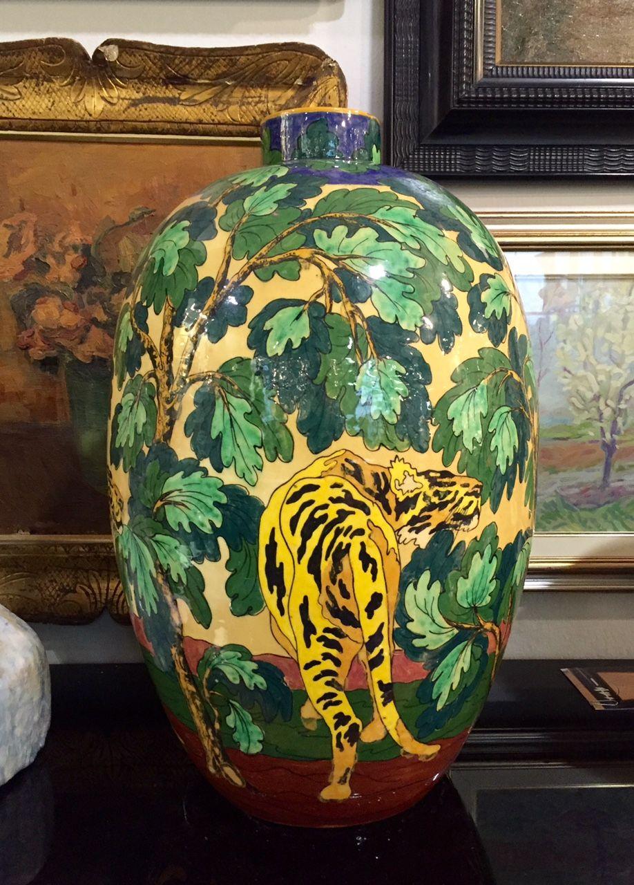 """Vaso """"Tigri"""" - Manifattura  """"L.E.D.A."""" (L'Estetica Dell'Abitazione) di Firenze - Guido Colucci (1877-1949). H. 58 cm circa. Epoca: 1925."""