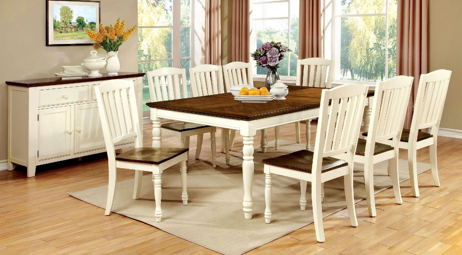 Harrisburg 9 Pcs Dining Table & Chairs Set Cm3216T  Products Fascinating 9 Pcs Dining Room Set Review