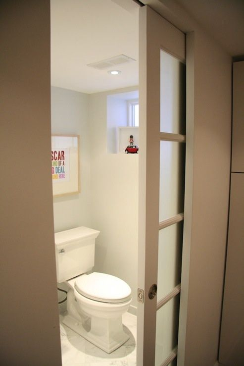 Frosted Pocket Door To The Bathroom Pocket Doors Bathroom Sliding Bathroom Doors Basement Bathroom Design