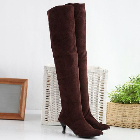 Kitty thigh high mid heel pointed boot
