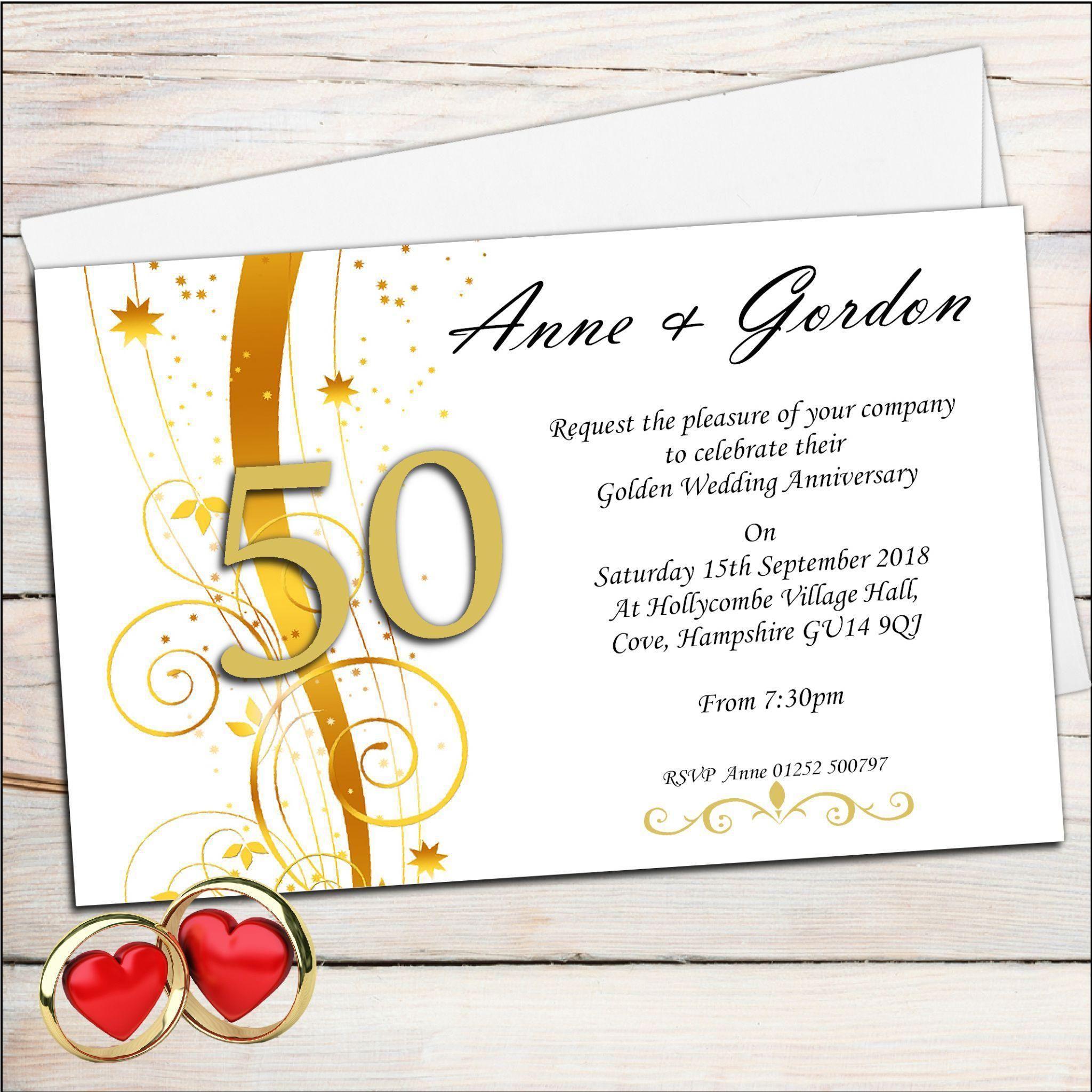 Golden Wedding Anniversary Invitations : Golden Wedding Anniversary ...