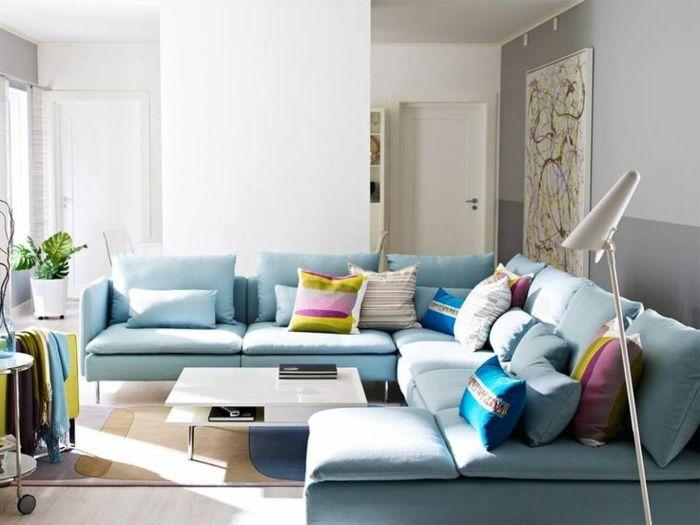 Tolle Ideen Zur Wohnzimmer Gestaltung Mit Bunten Kissen Mit  Unterschiedlichen Mustern