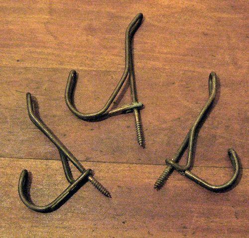 antique primitive u0026 rustic wire wall coat hooks lot of 3