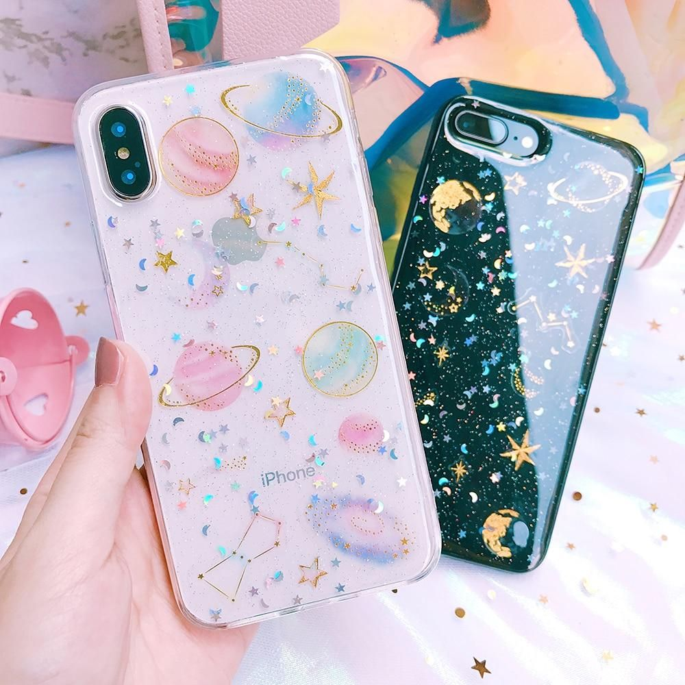 Moon glitter phone case fundas de movil