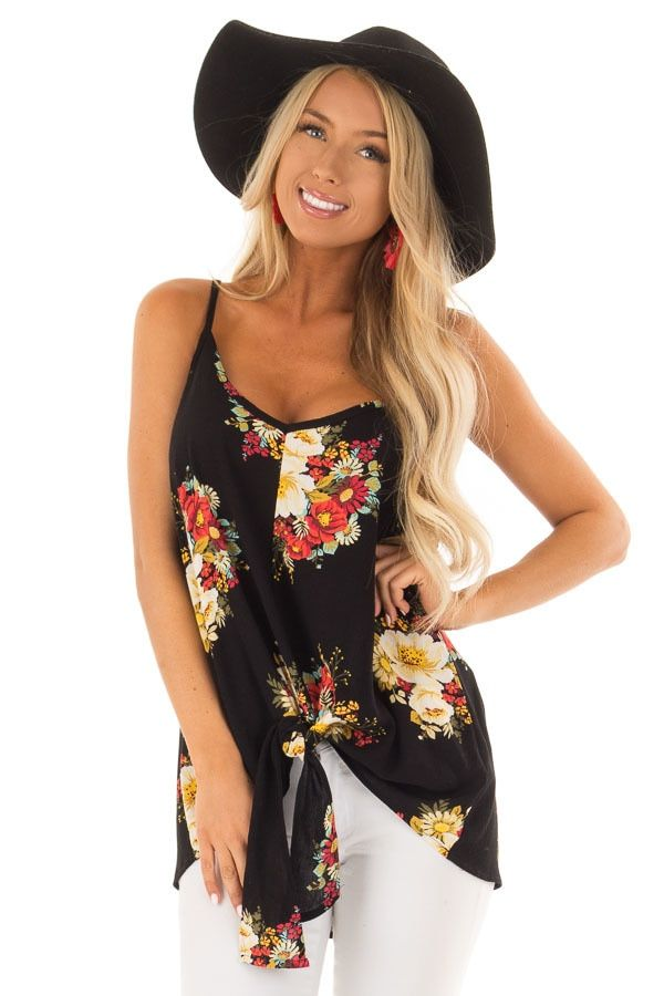 559deb1d14bb Sable and Floral Print Sleeveless Top with Knot Tie Detail front close up