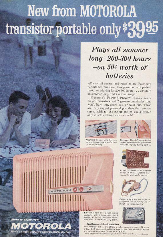 Vintage Transistor Radio Ad 1958 Motorola Power-8 by AdVintageCom