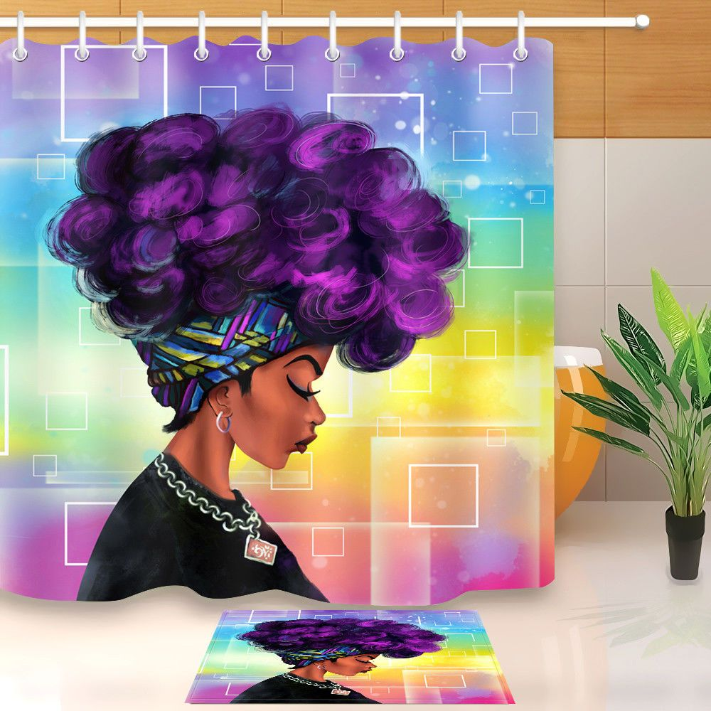9 29 Afro Hairstyle Woman African Black Girl W Purple Hair