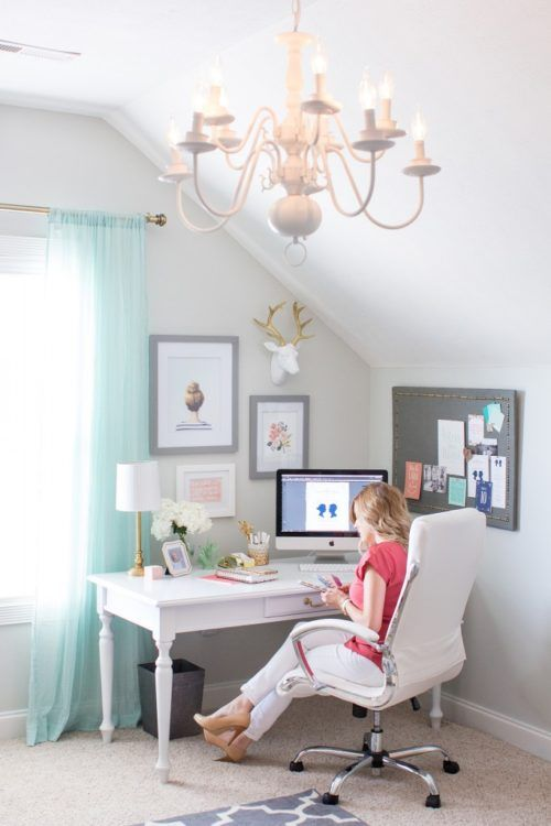 Amazing We Think This Office Could Be Precious With A Circular Brass Chandelier.  Inspiring Home Office Decor Ideas For Her On Frugal Coupon Living.