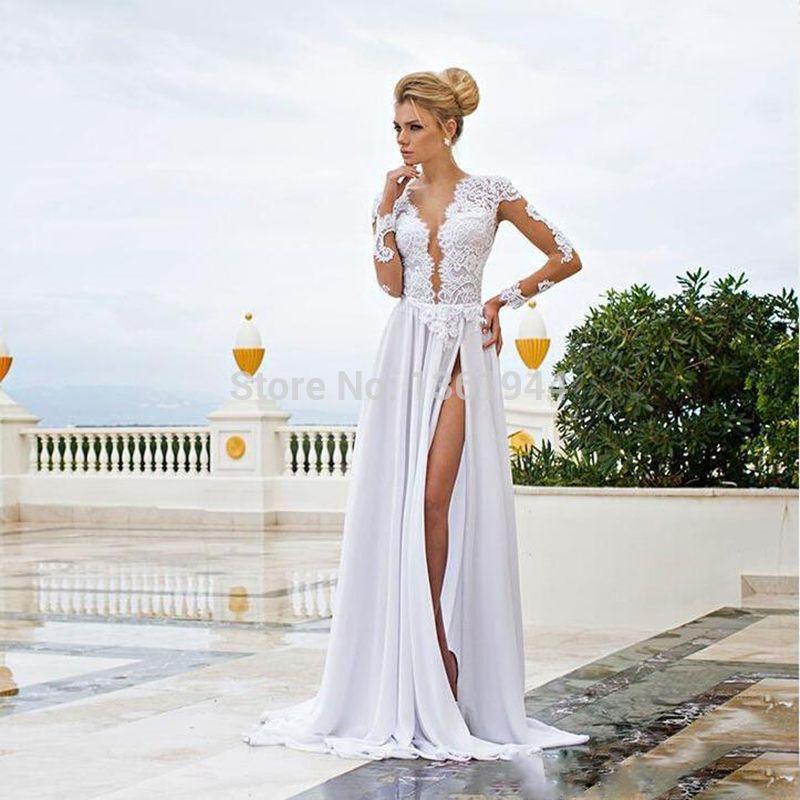 Дешевое Сексуальная высокого щелевая линия 2015 свадебные платья с ...