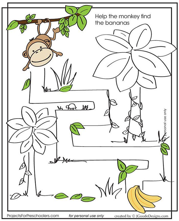 monkey-maze | Mazes for kids, Preschool, Maze