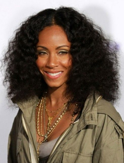 Medium Black Curly Hairstyle High Volume Natural Waves Jada Pinkett Smith S Hairstyle Curly Hair Styles Black Curly Hair Long Hair Styles