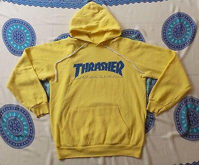 ddaeef8d4d84 Vintage 80s THRASHER MAGAZINE Skateboard Yellow Hoodiee