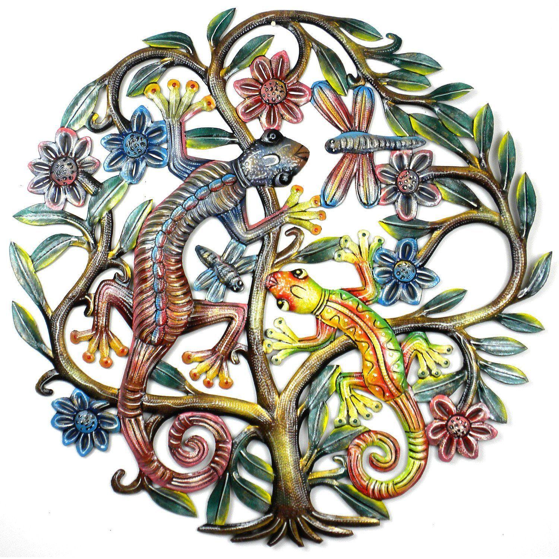 inch painted gecko tree of life handmade and fair trade fair