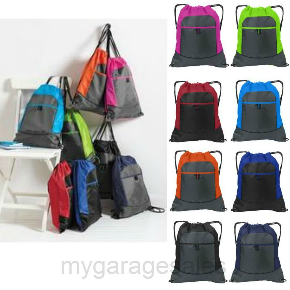 907403105d5a Colorblock Drawstring Backpack Cinch Sack Tote Gym Bag Sport Pack 14X17  PA   Backpack