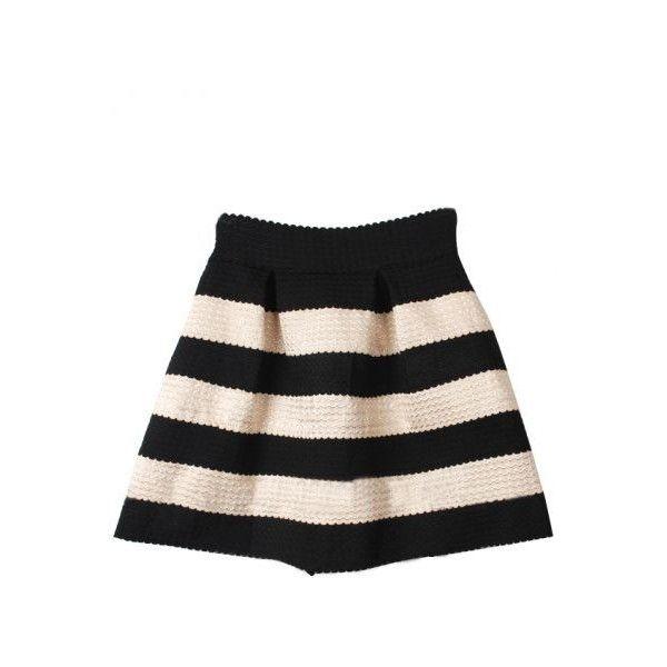 SheIn(sheinside) Black Apricot Striped High Waist Elastic Flare Skirt ($9.99) ❤ liked on Polyvore