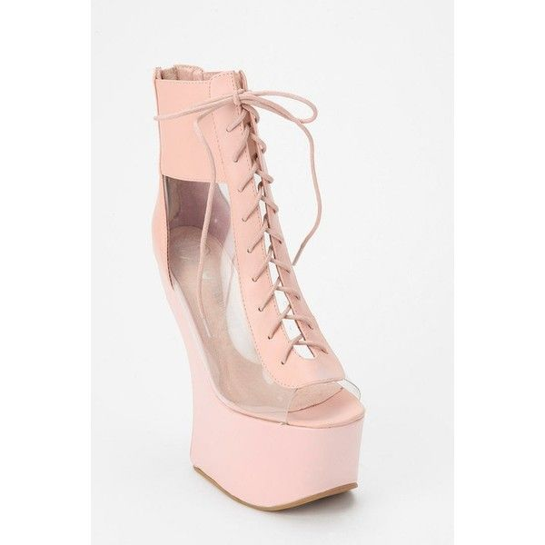 Jeffrey Campbell Lace-Up Lucite Wedge ❤ liked on Polyvore featuring shoes, lace up wedge shoes, clear wedge heel shoes, platform wedge shoes, jeffrey campbell shoes and lace up shoes