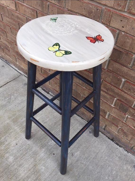 Painted Chair Painted Bar Stool Bar Stool Custom Hand Painted