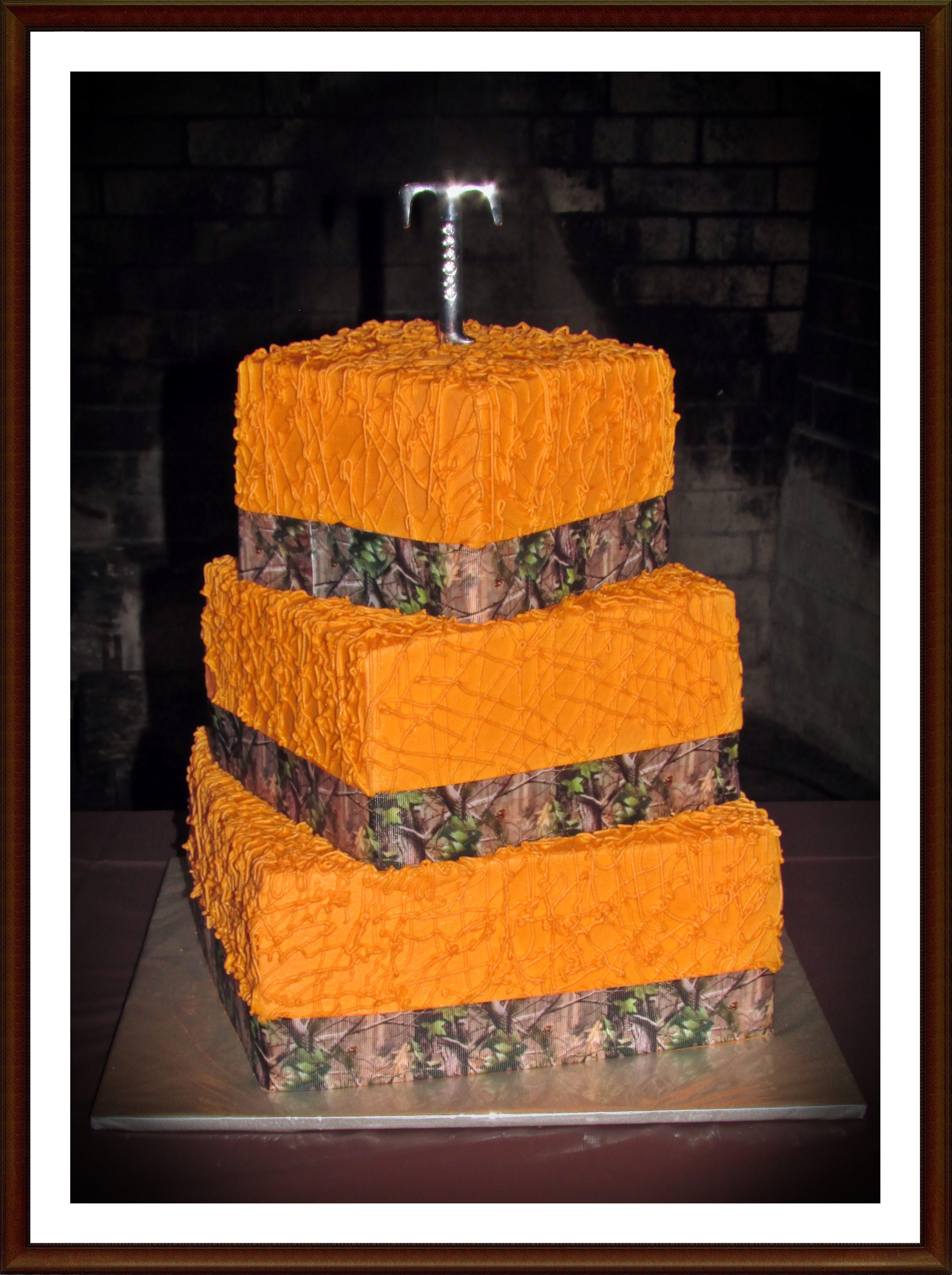 Camo & Orange Cake Cakes Pinterest