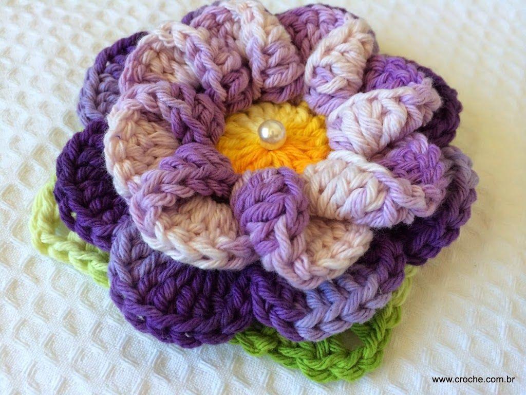 Flor de croche caracol