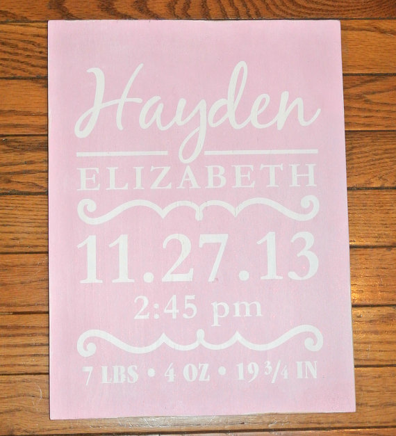 Personalized Baby Stats Wood Sign - Baby Statistics Plaque - Painted - copy birth certificate long beach