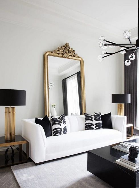 I was amazed, this small room looks so luxurious. So neat, matching black, white and gold color combinations. #luxurylivingroom #livingroomideas #livingroomdesign