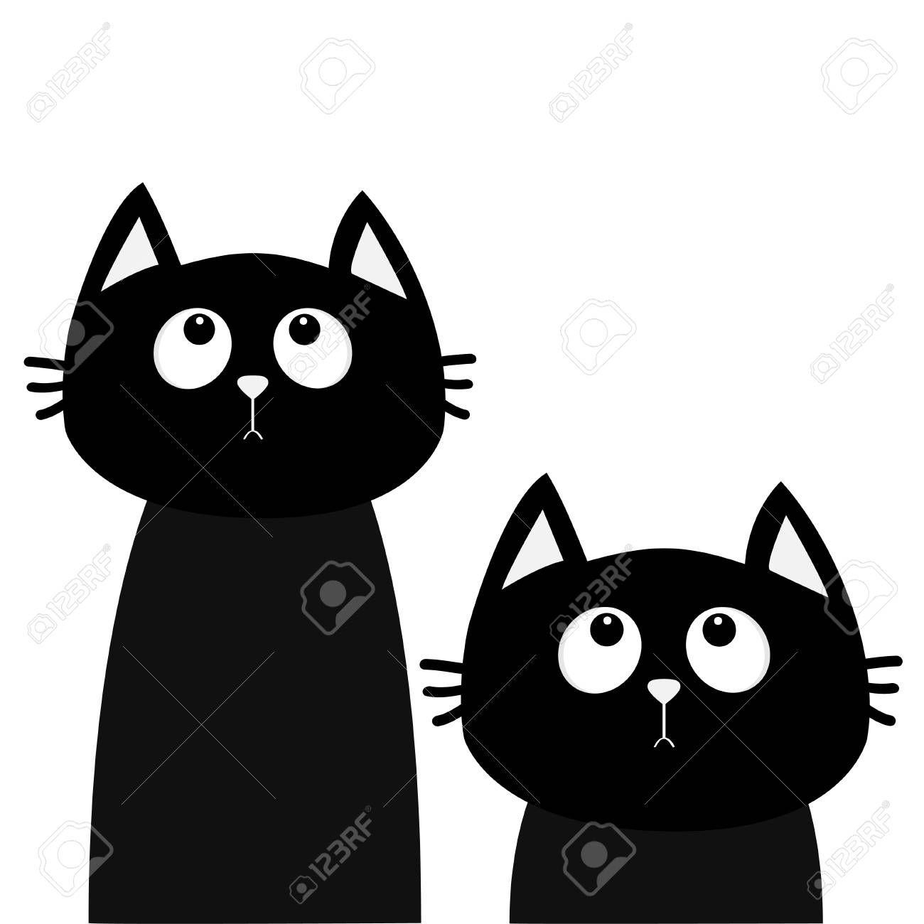 Two Black Cat Set Looking Up Friends Forever Cute Cartoon Character Kawaii Animal Love Greeting Card Flat Des Cute Cartoon Characters Cute Cartoon Cartoon