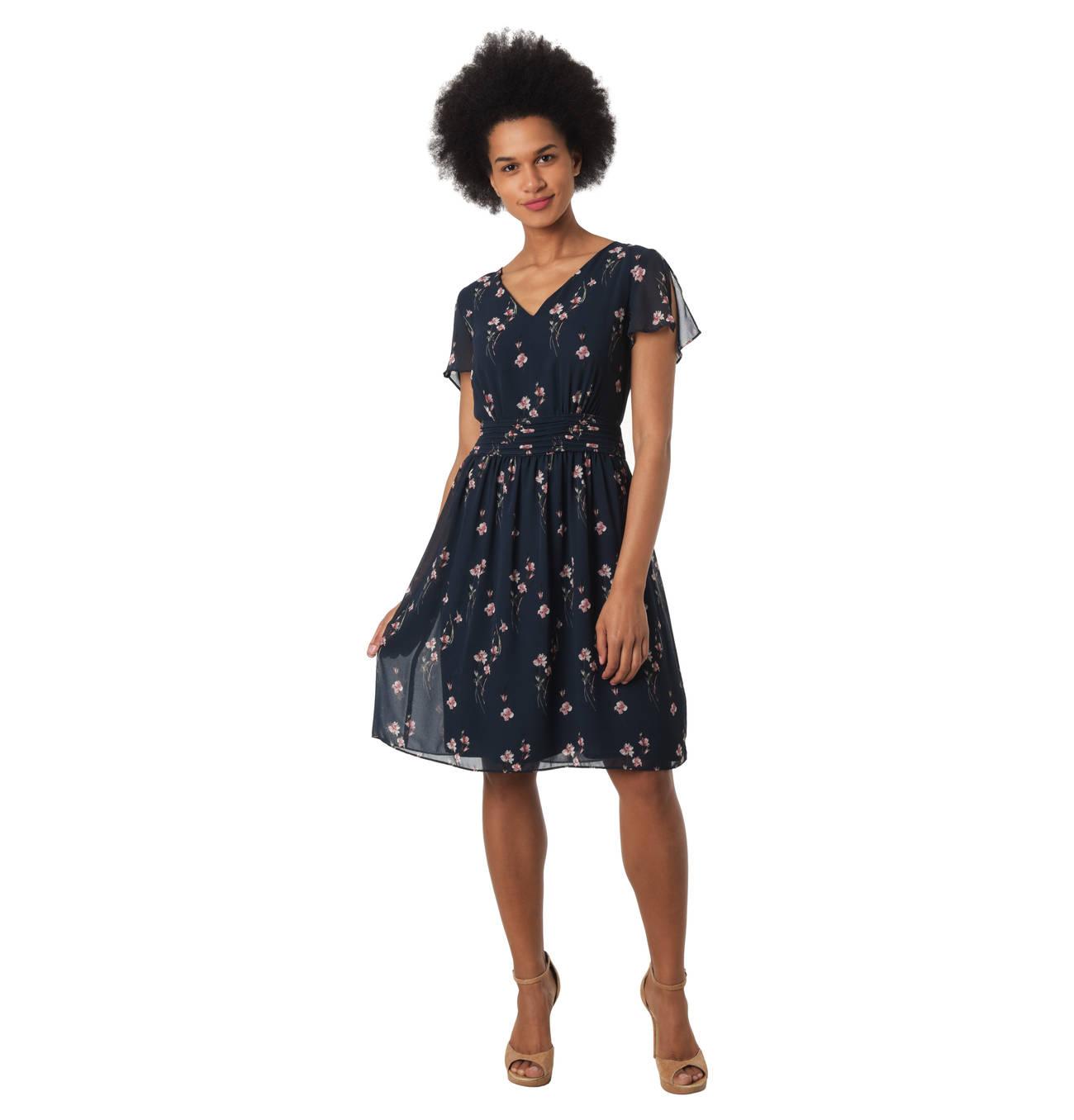 Kleid, mittellang, Blumen-Print, Binde-Gürtel, Kurzarm  Kleider