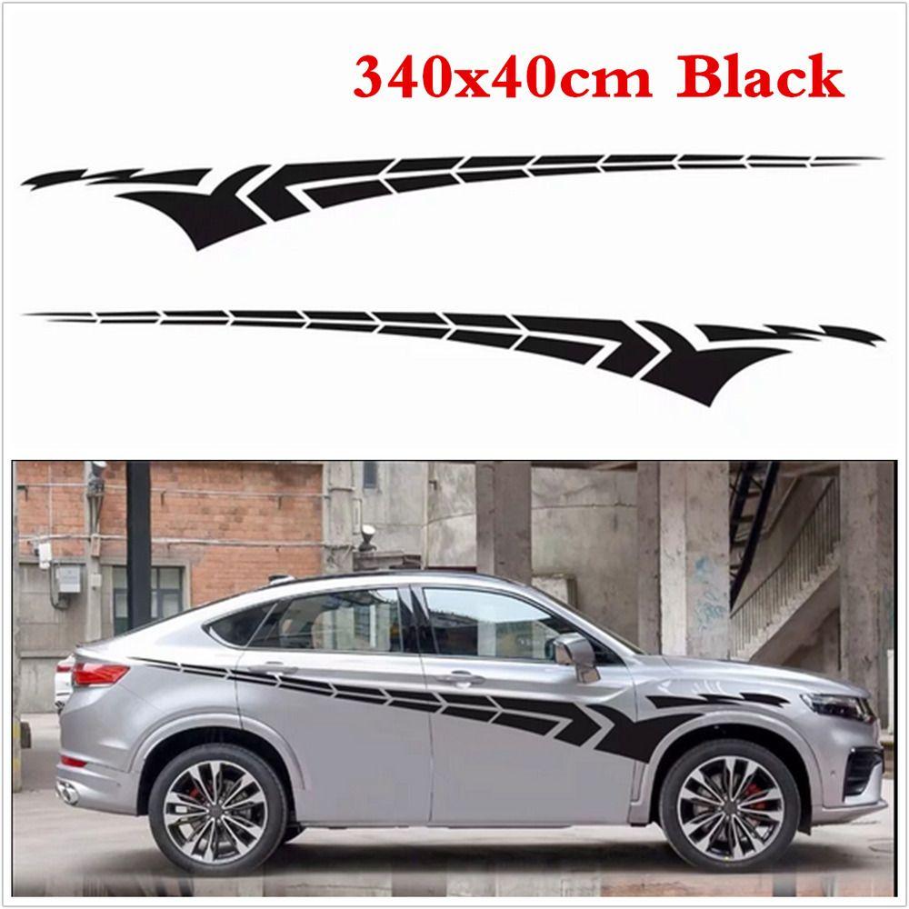 2pcs Black Car Sport Wing Side Door Vinyl Decal Body Sticker Graphic 340cmx40cm In 2021 Black Car Sport Cars Body Stickers [ 1000 x 1000 Pixel ]